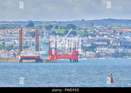 View of Falmouth, Cornwall, England, with its homes, port and harbor, as seen from the Roseland peninsula - Stock Photo