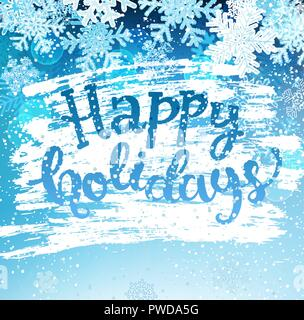 Happy holidays greeting card with snowflakes. Greeting winter with new year and christmas holidays, hand drawn lettering. Vector illustration. - Stock Photo