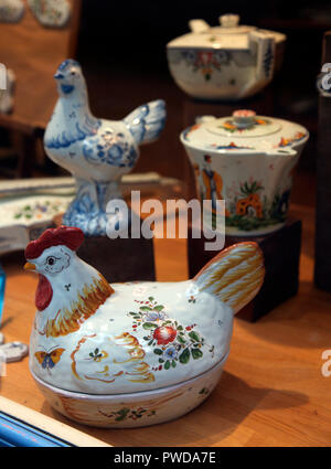 Traditional Normandy faience on sale in Rouen - Stock Photo