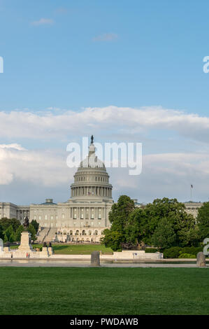 US Capitol in Washington DC on a sunny day - United States of America - Stock Photo