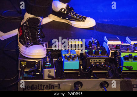 London UK 15th October 2018 A musician shoes can be seen on a Pedaltrain at the CLF Art Cafe. - Stock Photo
