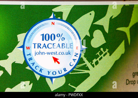 track your can 100% traceable - detail on side of tin of John West Tuna Chunks in spring water - Stock Photo