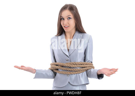 young business woman wrapped a rope. - Stock Photo