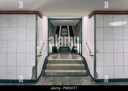 Berlin, Germany, October 10, 2018: Escalator at Underground Railway Station - Stock Photo