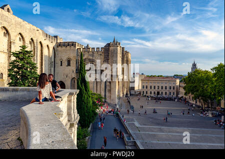 France. Vaucluse (84). Avignon. The Palace of the Popes, a UNESCO World Heritage Site - Stock Photo
