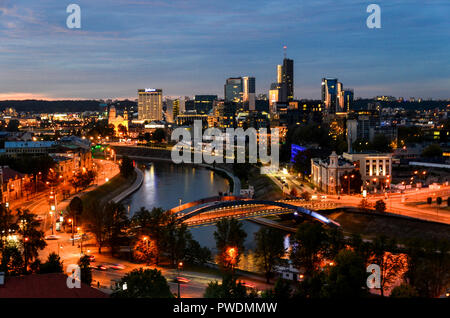 Panoramic view of the business district of Vilnius at sunset, Lithuania - Stock Photo
