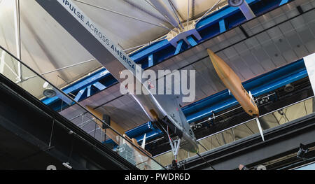 Paris, France - October 6, 2018: Exhibition of the famous Solar Impulse HB-SIA electric aircraft during the Science Fair 2018 in the hall of the City  - Stock Photo