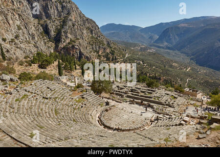 Delphi, Phocis / Greece. Ancient Theater of Delphi. The theater, with a total capacity of 5,000 spectators, is located at the sanctuary of Apollo. Pan - Stock Photo