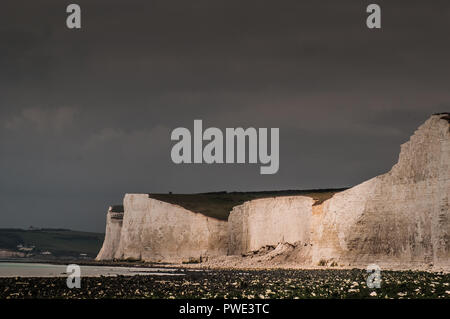 Birling Gap, Eastbourne, East Sussex, UK..15 October 2018..Massive cliff fall West of Birling Gap at Flat Hill. Right of centre.  National Trust have indicated this may be the largest fall along this stretch of coastline for some 13 years or so . - Stock Photo