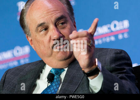 Washington DC, USA. 15th Oct 2018. Larry Merlo, President and CEO of CVS Health, participates in an interview during an Economic Club of Washington event in Washington, D.C., on October 15, 2018. Credit: Kristoffer Tripplaar/Alamy Live News - Stock Photo