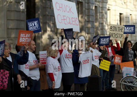 London,UK,16th October 2018,Save Brexit protestors outside Downing Street as Ministers arrive for the Cabinet meeting, ahead of a crunch Brussels Summit tomorrow. Theresa May will deliver an appeal to break deadlock at the summit. Top ministers met late last night In Andrea Leadsom's office while eating Pizza to discuss details further.Credit: Keith Larby/Alamy Live News - Stock Photo