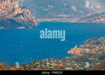 Malcesine is a comune (municipality) on the eastern shore of Lake Garda in the Province of Verona in the Italian region Veneto. - Stock Photo