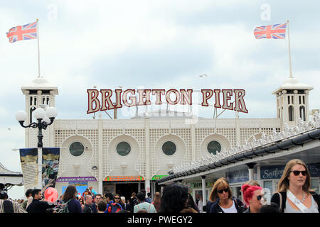 The Brighton Palace Pier, commonly known as Brighton Pier or the Palace Pier is a Grade II listed pleasure pier in Brighton, England, located in the city centre opposite the Old Steine. Opening in 1899, it was the third pier to be constructed in Brighton after the Royal Suspension Chain Pier and the West Pier, but is now the only one still in operation.