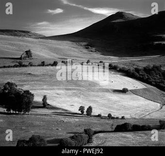 Mountains and rolling hills landscape of Cezallier, Auvergne Rhone Alpes, france