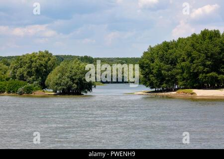 river landscape near Calarasi on the Danube, Romania, Greater Walachia, Danube landscape, estuary, abandoned meander, floodplain, alluvial land, cloudy sky - Stock Photo
