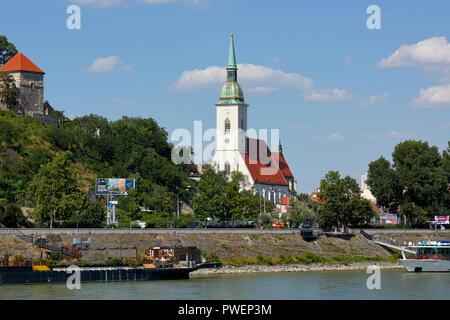 Slovak Republic, Slovakia, Bratislava, Capital City, Danube, Little Carpathians, St. Martins Cathedral, coronation church, catholic church, Gothic, Danube riverwalk - Stock Photo
