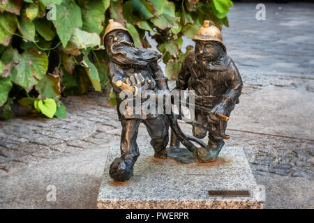 Gnomes Elfs small statues in Wroclaw, Poland - Stock Photo