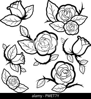 Vector black and white illustration set of tattoo style roses and buds. - Stock Photo