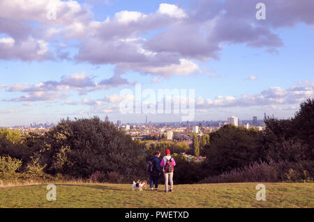 A view of London from Parliament Hill, Hampstead Heath, London NW3, England, UK - Stock Photo