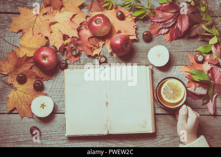 Fall. Old album with space for text and cup of tea in hand, decor of autumn leaves, apples on old board. Matte effect. - Stock Photo