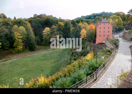 The terraced house and the park at Castle Colditz or Schloss Colditz in Colditz, Germany. A Renaissance castle most famously known as Oflag IV-C. - Stock Photo