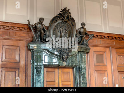 Entrance to courtroom 600 at the Palace of Justice in Nuremberg, Germany. Location of the Nuremberg trials of Nazi war criminals 1945. - Stock Photo