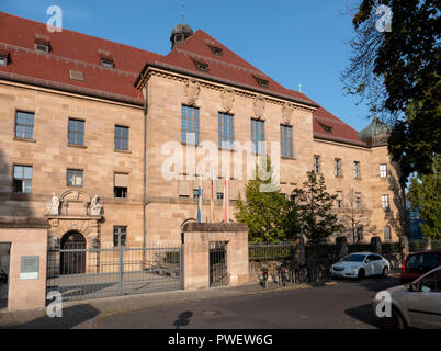 Courtroom 600 at the Palace of Justice in Nuremberg, Germany. Location of the Nuremberg trials of Nazi war criminals including Rudolf Hess. - Stock Photo