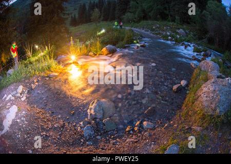 Mountain river in High Tatras, Slovakia at night - Stock Photo