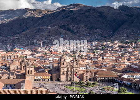 PLAZA DE ARMAS AND SURROUNDING LANDSCAPE - CUSCO - PERU - Stock Photo