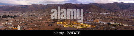 PANORAMA OF CUSCO - PERU and surrounding landscape at night - Stock Photo