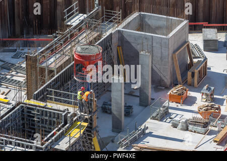 concreting in-situ walls with hopper - Stock Photo
