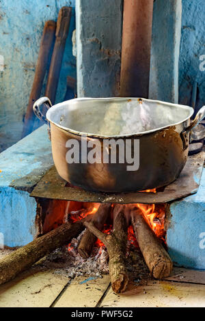 Kitchen with wood stove typical of the interior of Brazil in the poorest communities or that preserve the old traditions - Stock Photo