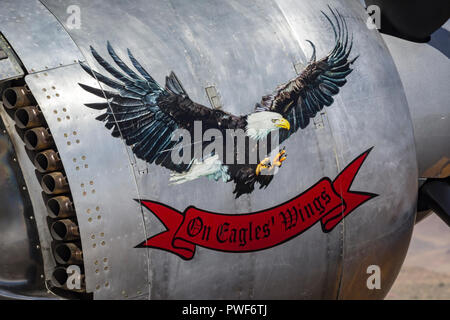 Cowling of the R2800 powered warbird and air racing Hawker Sea Fury 'On Eagles Wings.' - Stock Photo