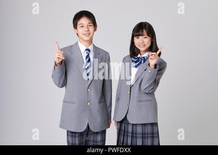 Japanese junior high students - Stock Photo