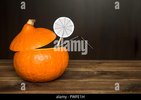 cocktail in a pumpkin. halloween drinks for party - Stock Photo