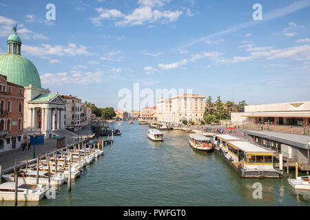 View from Ponte degli Scalzi looking down the Grand Canal in Venice, Italy. - Stock Photo