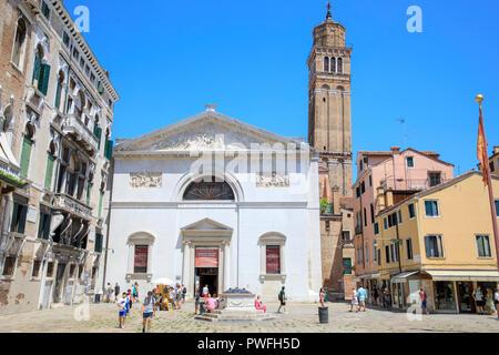 Chiesa di San Maurizio & Santo Stefano Bell Tower, Campo San Maurizio, Venice, Ital. - Stock Photo