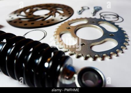 various motorcycle parts - Stock Photo