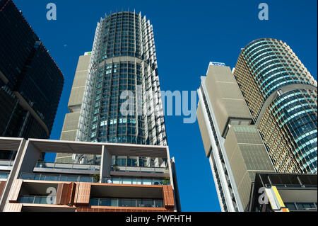 16.09.2018, Sydney, New South Wales, Australia - A view of modern residential buildings, office towers and restaurants in Barangaroo. - Stock Photo