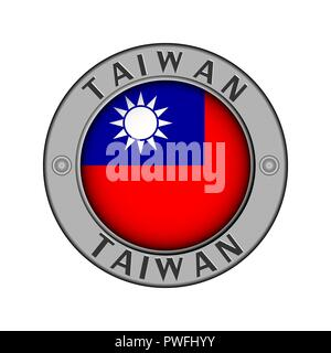 Round metal medallion with the name of the country of Taiwan and a round flag in the center - Stock Photo