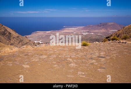 Gran Canaria, October, landscapes of valley of Agaete, view over crop cleaning threshing site Era de Berbique, hiking route San Pedro - Puerto de Las  - Stock Photo