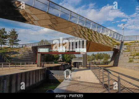 The reflective Diamond Bridge and Carpenters Lock on the River Lea in   the Queen Elizabeth Olympic Park, Stratford, London, England, United Kingdom, - Stock Photo