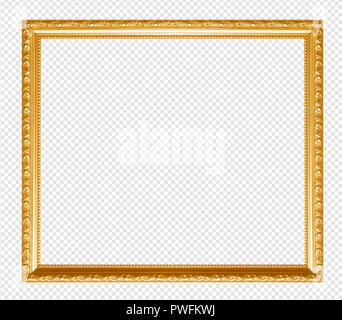 Golden wooden frame isolated on transparent background. - Stock Photo