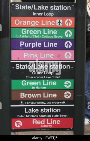 Colorful sign showing the public transit connections available at the State and Lake Station in downtown Chicago, Illinois. - Stock Photo