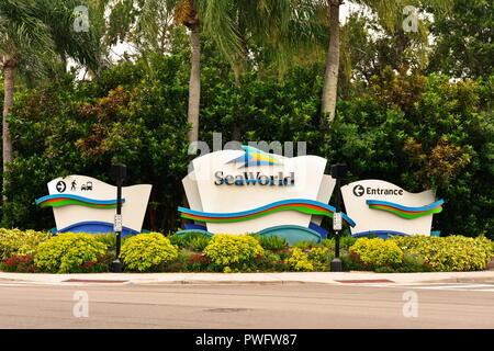Orlando, Florida; August 3, 2018 SeaWorld Orlando Signs. Cute animal theme park, outdoor aquarium, marine mammal park, in the International Drive area - Stock Photo