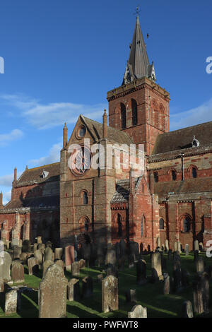 St. Magnus Cathedral in Kirkwall, Orkney, Scotland is over 870 years old, built of local polychromatic sandstone in Norman architecture, by Vikings! - Stock Photo