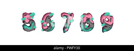 Paper cut number five, six, seven, eight, nine, figure 5, 6, 7, 8, 9. Design 3d sign isolated on white background. Alphabet font of melting liquid. - Stock Photo