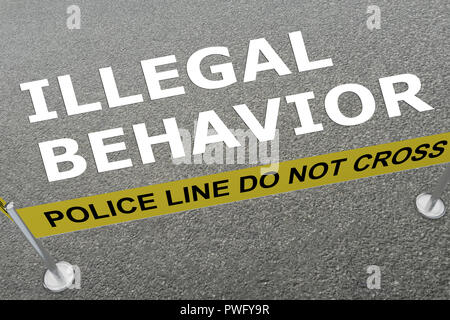 3D illustration of ILLEGAL BEHAVIOR title on the ground in a police arena - Stock Photo