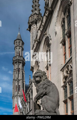 Architectural detail of the Provincial Court and Historium buildings in the historic medieval city of Bruges, West Flanders, Belgium. - Stock Photo