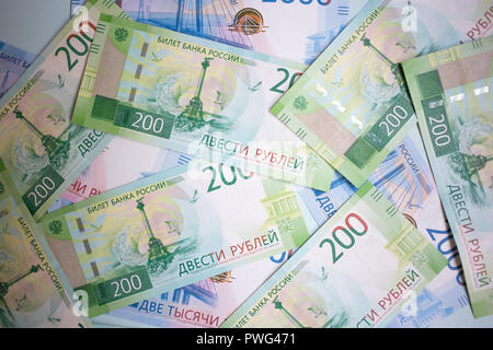 MOSCOW, RUSSIA - 08 28 2018: top view of new banknotes Russian rubles - Stock Photo